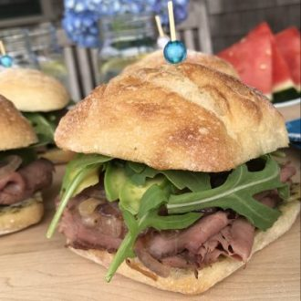 Roast Beef, Avocado & Caramelized Onion Sandwich with Pesto Mayo