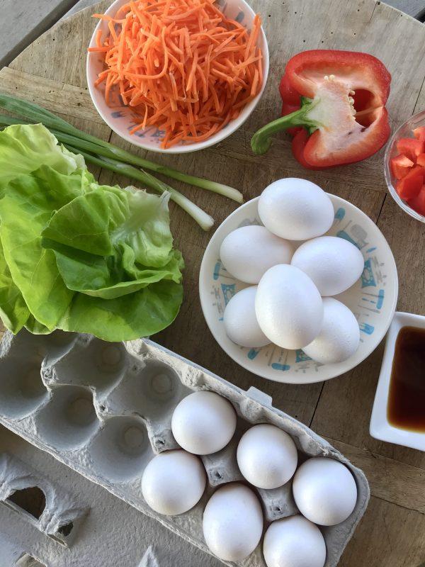 Scrambled Eggs & Stir-Fried Veggie Lettuce Cups via LizsHealthyTable.com