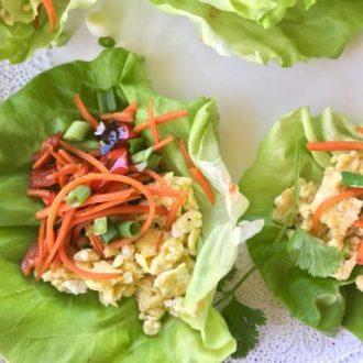 Scrambled Eggs & Stir-Fried Veggie Lettuce Cups: Dinner Eggs are a New Trend!