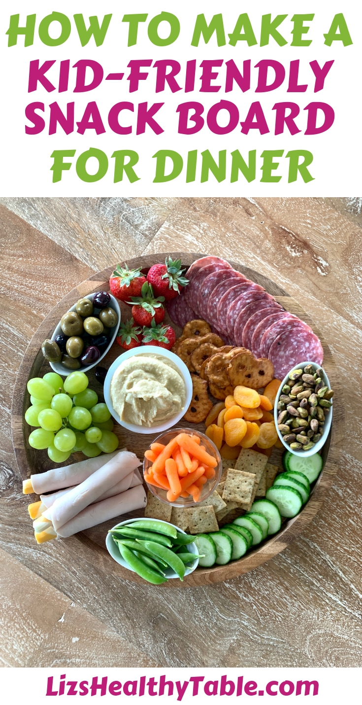 How to make a kid-friendly snack board via lizshealthytable.com #snackboard