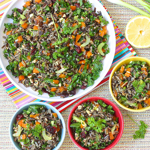 Kale and Wild Rice Salad via lizshealthytable.com