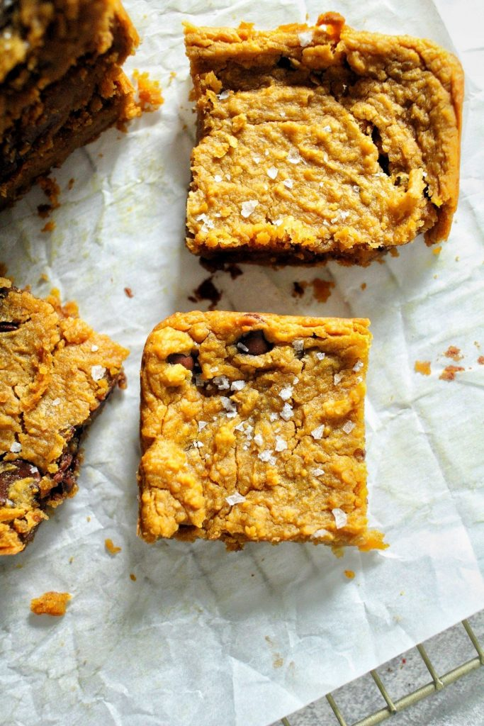 Pumpkin Chickpea Blondies via LizsHealthyTable.com
