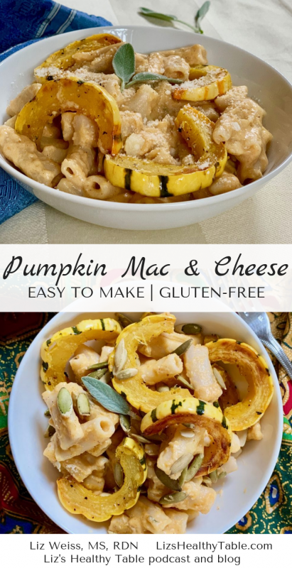 Gluten Free Pumpkin Mac and Cheese via LizsHealthyTable.com #glutenfree #pumpkin