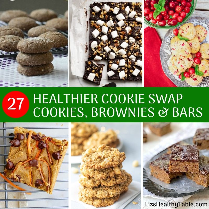 27 Healthier Cookie Swap Cookies, Brownies & Bars via Lizshealthytable.com #cookieswap