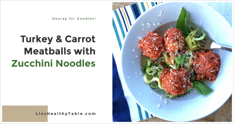 Turkey & Carrot Meatballs with Zucchini Noodles via lizshealthytable.com