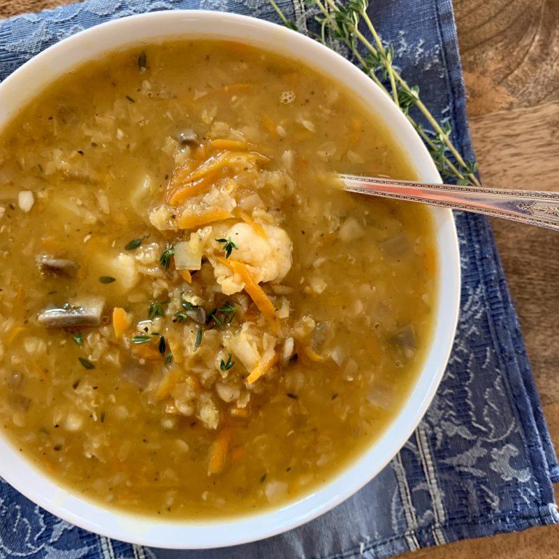 Easy Red Lentil & Vegetable Soup via LizsHealthyTable.com #vegan #plantbased