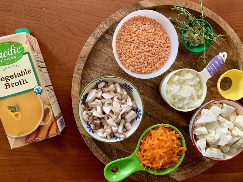 Easy Red Lentil & Vegetable Soup via LizsHealthyTable.com