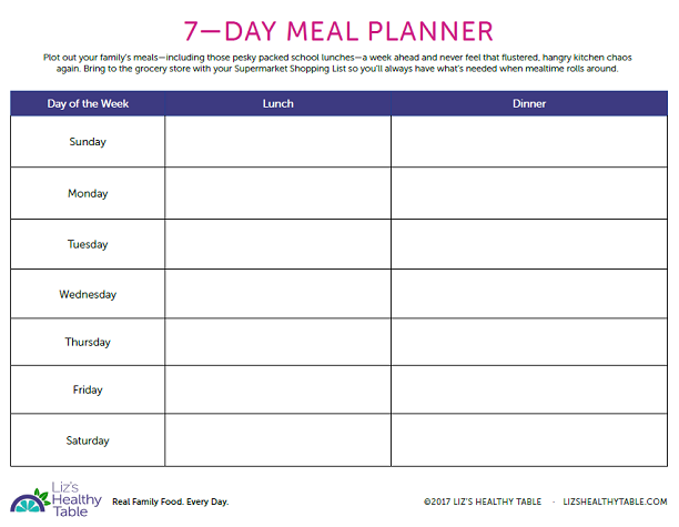 7-day meal planner via lizshealthytable.com