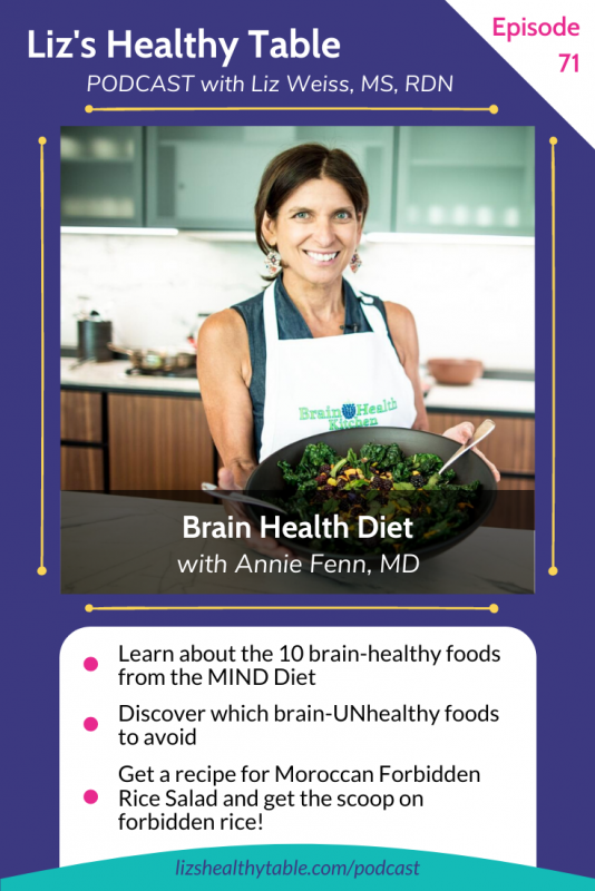 Liz's Healthy Table Podcast Episode #71: Brain Health Diet with Annie Fenn, MD via lizshealthytable.com