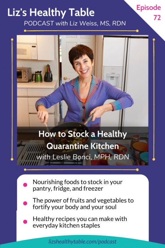 How to Stock a Healthy Quarantine Kitchen with Leslie Bonci, MPH, RDN via LizsHealthyTable.com #podcast