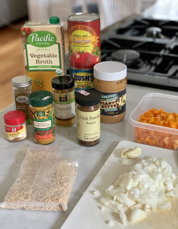 Pantry Peanut Butter & Chickpea Soup via lizshealthytable.com #quarantinekitchen