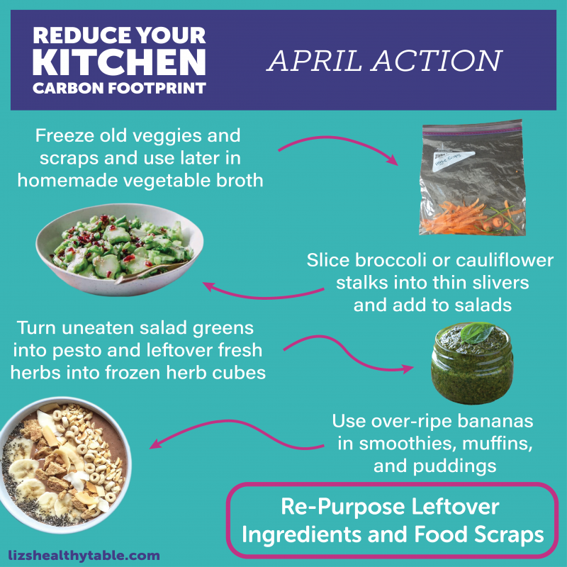 Reduce Your Kitchen Carbon Footprint: Re-Purpose Leftover Ingredients and Food Scraps to Slash Food Waste via lizshealthytable.com