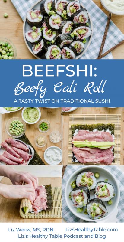 "A Tasty Twist on Sushi: Beefy Cali Roll ""Beefshi"" via lizshealthytable.com"