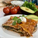 Enchilada Casserole with Frozen Spinach and a Can of Bean Chili | Quick Pantry Meal