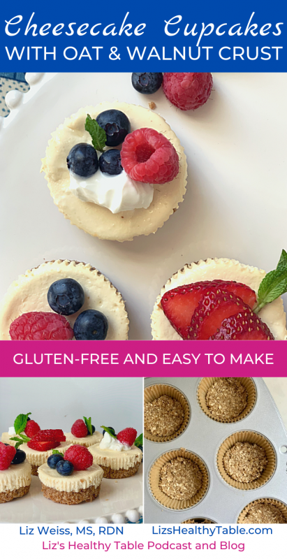 Cheesecake Cupcakes with Oat & Walnut Crust | Gluten Free via lizshealthytable.com