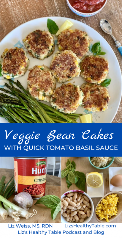Veggie Bean Cakes with Quick Tomato Basil Sauce via LizsHealthyTable.com #cansforcomfort
