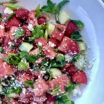 Watermelon and Strawberry Salad with Mint, Cucumber & Feta