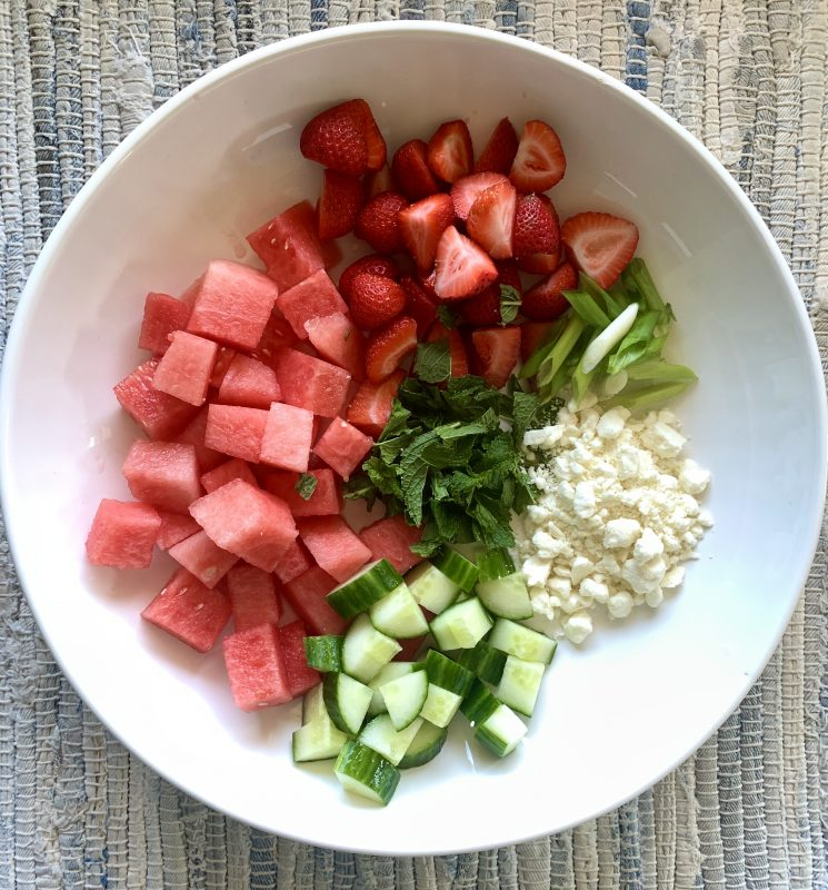 Watermelon and Strawberry Salad with Mint, Cucumber & Feta via LizsHealthyTable.com