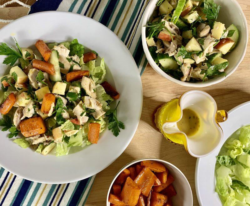 Chicken and Carrot Shawarma Salad Bowls via LizsHealthyTable.com