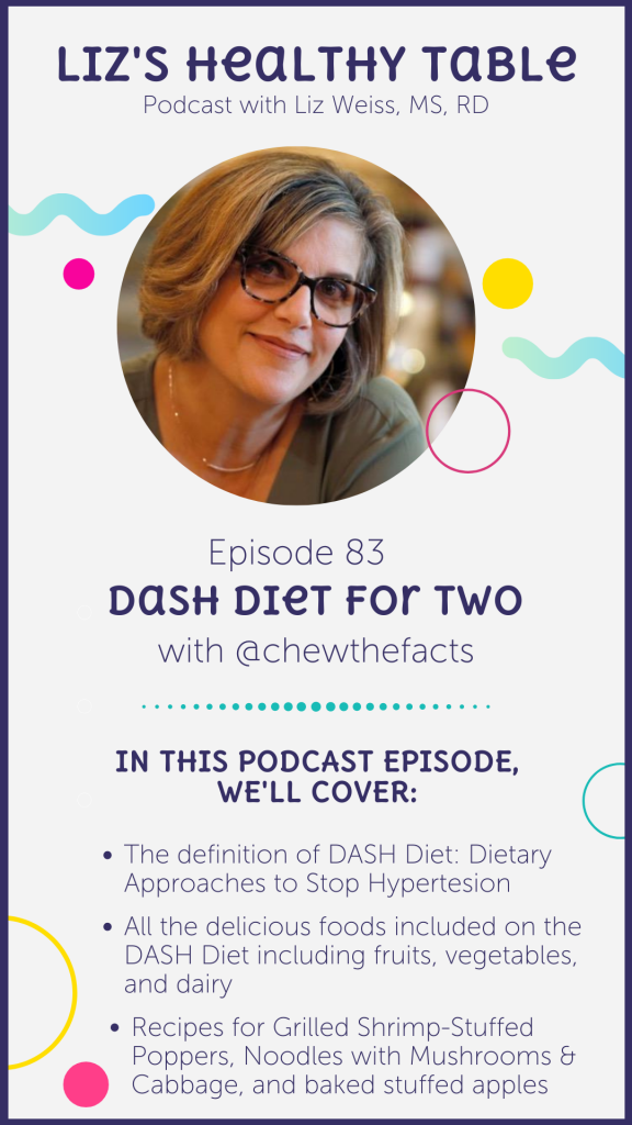 Dash Diet for Two via lizshealthytable.com/podcast #dashdiet