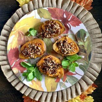 Maple Pecan Stuffed Sweet Potatoes for Thanksgiving