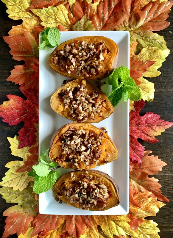 Maple Pecan Stuffed Sweet Potatoes for Thanksgiving via LizsHealthyTable.com #thanksgiving