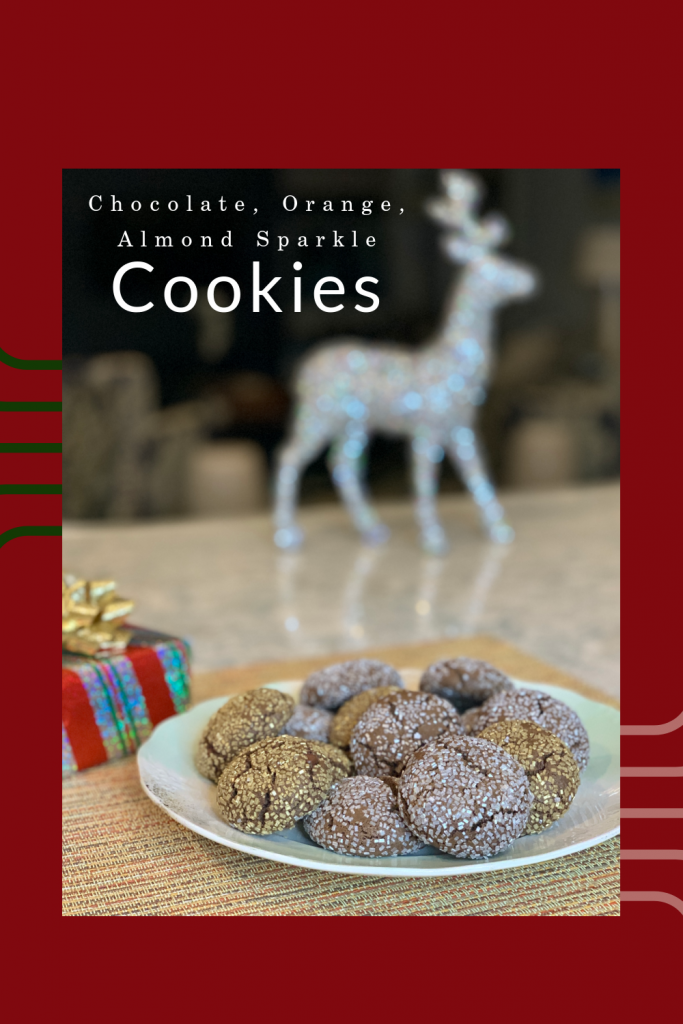 Chocolate, Orange, and Almond Sparkle Cookies via lizshealthytable.com
