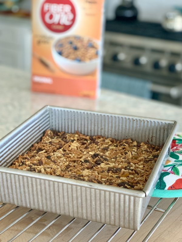 Homemade Fiber One Cereal Bars with Walnuts and Dried Fruit via LizsHealthyTable.com