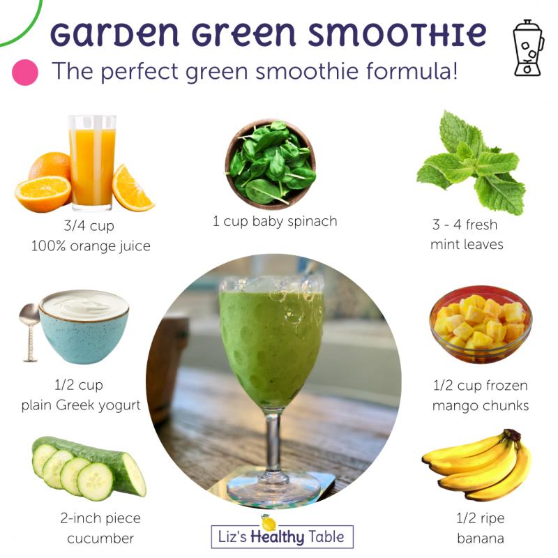 Garden Green Smoothie via lizshealthytable.com