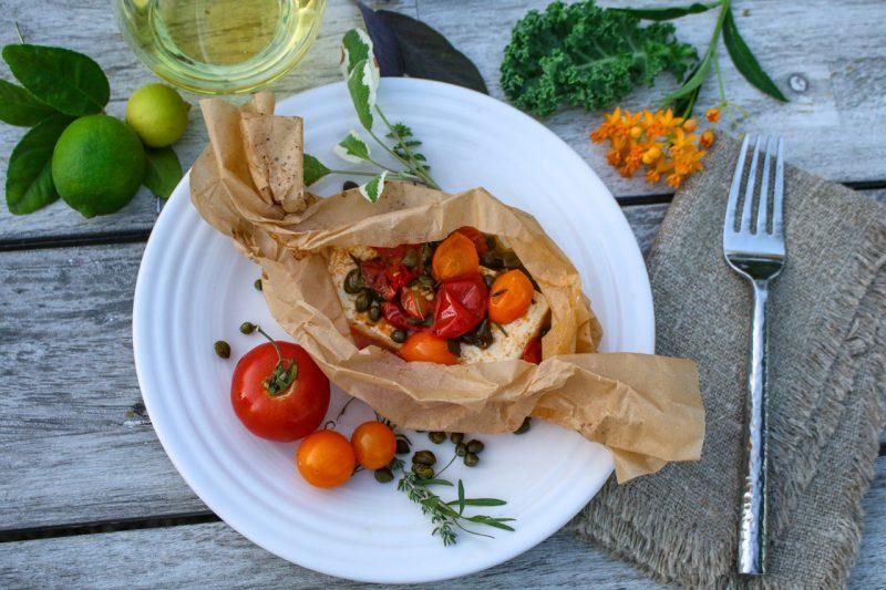 Mediterranean Tofu in Parchment via lizshealthytable.com #podcast