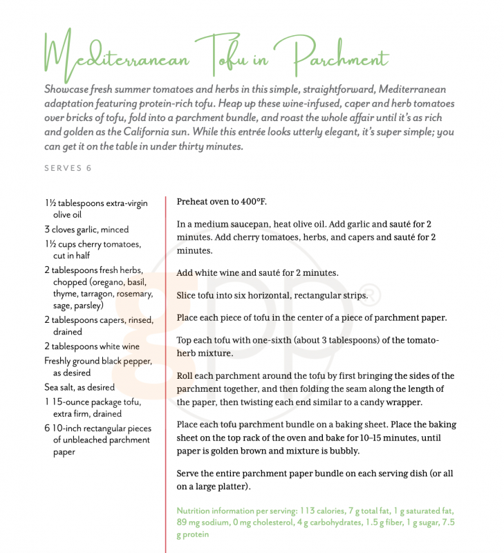 Mediterranean Tofu in Parchment via lizshealthytable.com #podcast #vegan