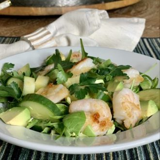 Arugula Salad with Green Mix-ins and Sautéed Shrimp