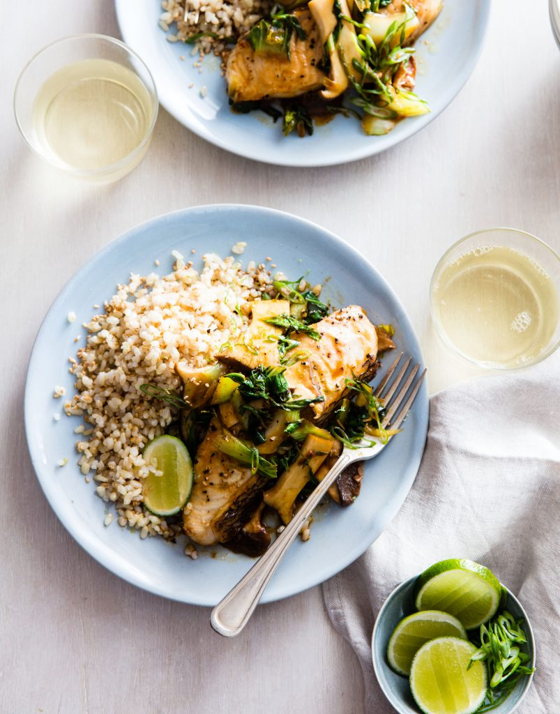 Coconut Ginger Sea Bass in Parchment via lizshealthytable.com #podcast