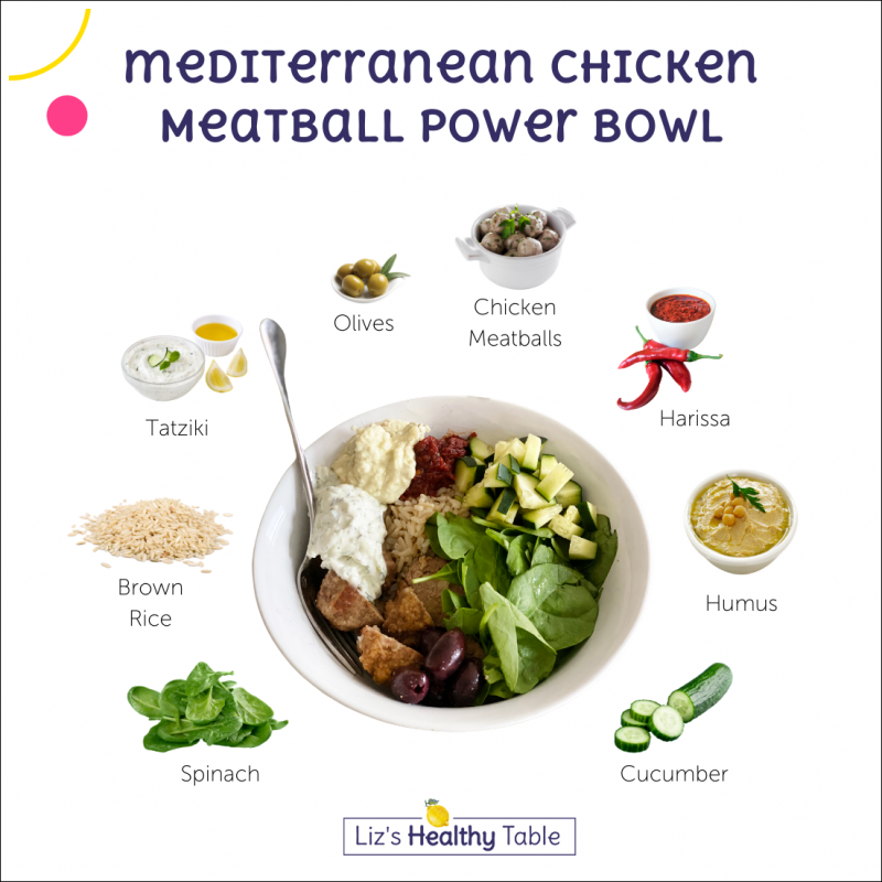 Mediterranean Chicken Meatball Power Bowls via lizshealthytable.com