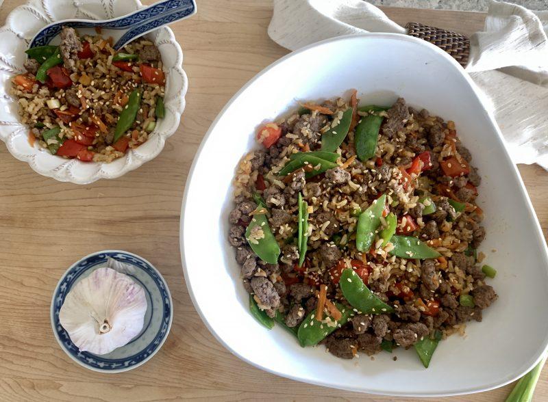 Rainbow Veggie & Beef Fried Rice via lizshealthytable.com